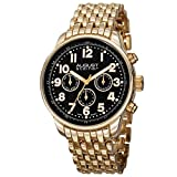 August Steiner Men's AS8147YGB Yellow Gold Multifunction Swiss Quartz Watch with Black Dial and Yellow Gold Bracelet