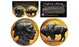 #7: 1930's 24K GOLD P Indian Head Buffalo Nickel *Full Dates BLACK RUTHENIUM 2-Sided