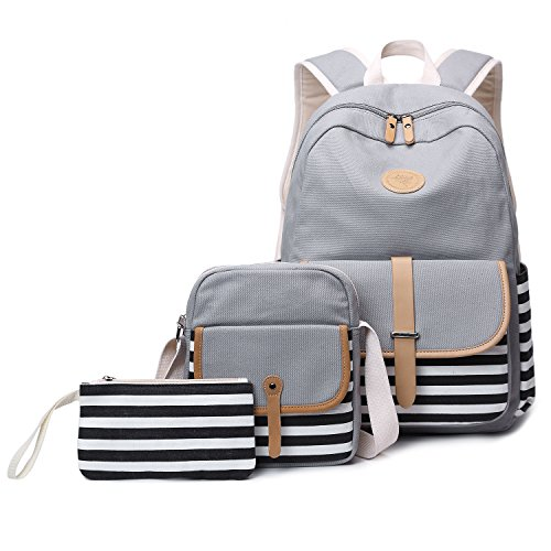 Abshoo Causal Travel Canvas Rucksack Backpacks for Girls School Bookbags (Grey - Canvas Grey Stripe
