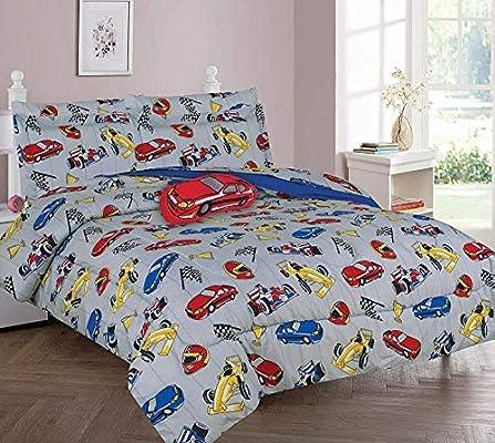 DiamondHome Boys Bedroom Decor Race Car Design (Full Comforter 8pc Set)