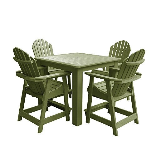 highwood AD-CNA44-SGE Hamilton 5-Piece Square Counter Height Dining Set, Dried Sage