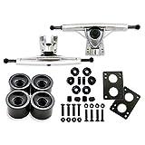 Longboard Skateboard Package, 7inch Aluminum Trucks (Silver), 70mm longboard wheel set, Skateboard Bearings, Skateboard Pads 6mm, Skateboard Hardware 1.5 inch (Black)