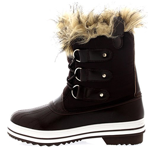 Shoe Womens Winter Nylon Sole up Brown Rain Rubber Lace POLAR Snow Cuff Boots Short Waterproof PcqW8Pd