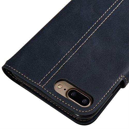 Funda iPhone 7 Plus/iPhone 8 Plus, EUWLY iPhone 7 Plus/iPhone 8 Plus Carcasa Libro de PU Premium Cuero Fundas Flip Caso Elegantes Vintage Diseño Leather Wallet Teléfono Móvil Case Cover Con Ultra Fina Azul Oscuro