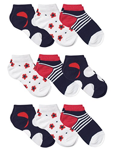 Country Kids Girls' Cotton Rich Low Cut Socks with Stripes Dots Flowers, Pack of 9, Fits 2-4 years (shoe size 6-11.5), Red White Navy ()