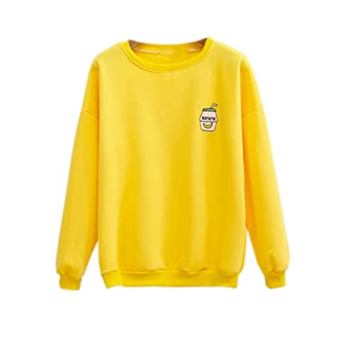aefcedfc7 Image Unavailable. Image not available for. Color: Harajuku Pastel Yellow  Embroidered Banana Hoodies Sweatshirts for Womens