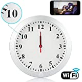 CAMXSW Upgrade WiFi Spy Camera HD 1080P Wall Clock 5000mAh Hidden Cameras with Motion Detection Alarm Clock Camera Pinhole CamNanny Cam Spy Mini Video Recorder Support Android IOS