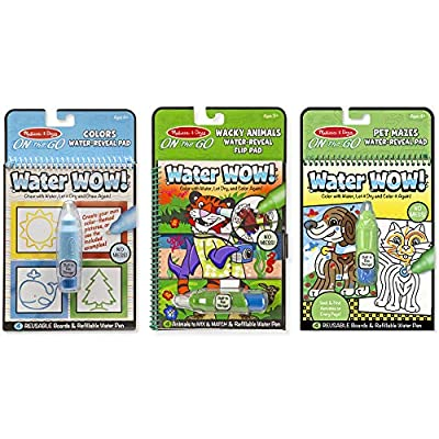 Melissa & Doug Water Wow! Water-Reveal Travel Activity Pad 3-Pack - Flip Pad, Colors-Shapes, Mazes: Toys & Games