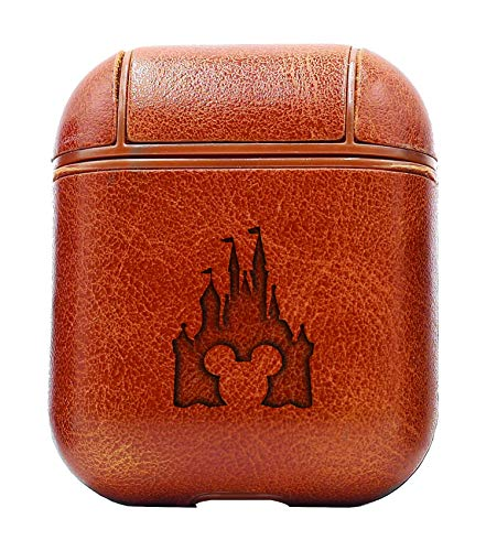 Cinderella Castle Clipart (Vintage Brown) Air Pods Protective Leather Case Cover - a New Class of Luxury to Your AirPods - Premium PU Leather and Handmade exquisitely by Master Craftsmen