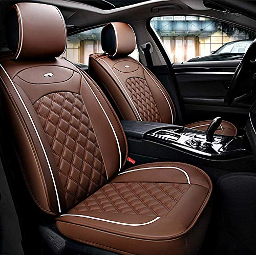 AYCYNI Easy To Clean PU Leather Car Seat Cushions 5 Seats Full Set - Anti-Slip Suede Backing Universal Fit Car Seat Covers for Both Fabric And Leather Car Seats,Red,Brown: Kitchen & Home