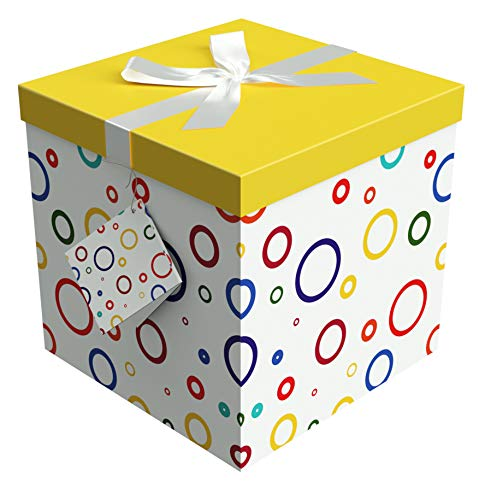 Gift Box 10X10X10 - Garnier Collection - Easy to Assemble & Reusable - No Glue Required - Ribbon, Tissue Paper, and Gift Tag Included - EZ Gift Box by Endless Art US