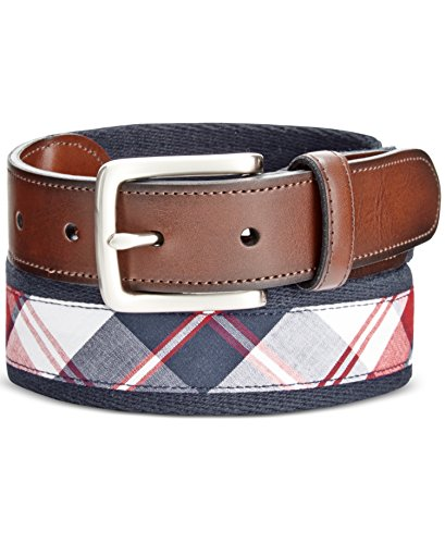 Cotton Plaid Belt - Club Room Mens Mixed Media Plaid Dress Belt Navy 38