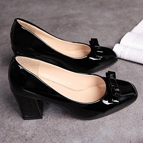 new product 71a5e 55eba COOLCEPT Mujer Clasico Sin Cordones Tacon alto Bombas Zapatos With Bowknot  Negro ...