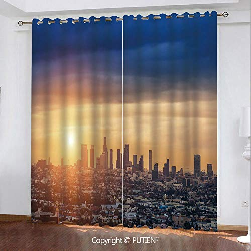 Satin Grommet Window Curtains Drapes [ City,Sunrise at Los Angeles Urban Architecture Tranquil Scenery Majestic Sky,Navy Blue Apricot Ivory ] Window Curtain for Living Room Bedroom Dorm Room Classroom (Time Difference Between Los Angeles And Ohio)
