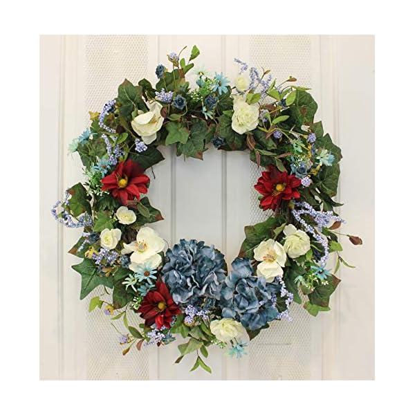 Red, White and Hydrangea Blue Silk Front Door Wreath – 22″