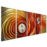 Pure Art Space Vortex Metal Wall Art Decor - Large Abstract Contemporary Set of 5 Panels - Decorative Sculpture for Kitchen or Bedroom - 64'' x 24''