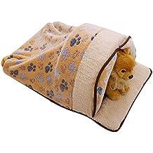 Freerun Warm Soft Fleece Pets Bed Sleeping Bag Burrow Cuddle Cat Dog Cave with Curtain (Brown, M)