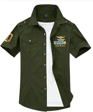 Star-bw Camisa Hombre Militar Manga Corta gant Juvenil Slim fit Casual: Amazon.es: Ropa y accesorios