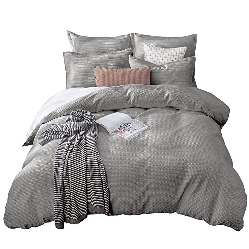 - Merryfeel Sand Washed Cotton Waffle Weave Duvet Cover Set - King