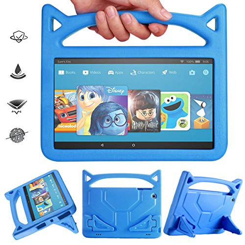 Angiuing Kindle Fire HD 10 Kids Case, Made of Lightweight, Shockproof EVA Material with Stand and Sturdy Handle,Amazon Tablet Child case Compatible with 7th and 5th Generation. (2017/2015) (Blue)