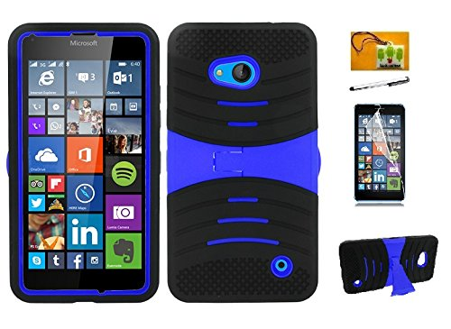 Phone Nokia Stylus (Nokia Lumia 640, LF 4 in 1 Bundle, Hybrid Dual Layer Armor Case with Kickstand, Stylus Pen, Screen Protector & Wiper (Armor Blue))