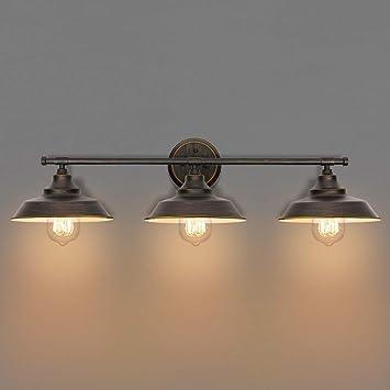 Kingso Bathroom Vanity Light 3 Light Wall Sconce Fixture Industrial Indoor Wall Mount Lamp Shade For Bathroom Kitchen Living Room Workshop Cafe Amazon Co Uk Diy Tools