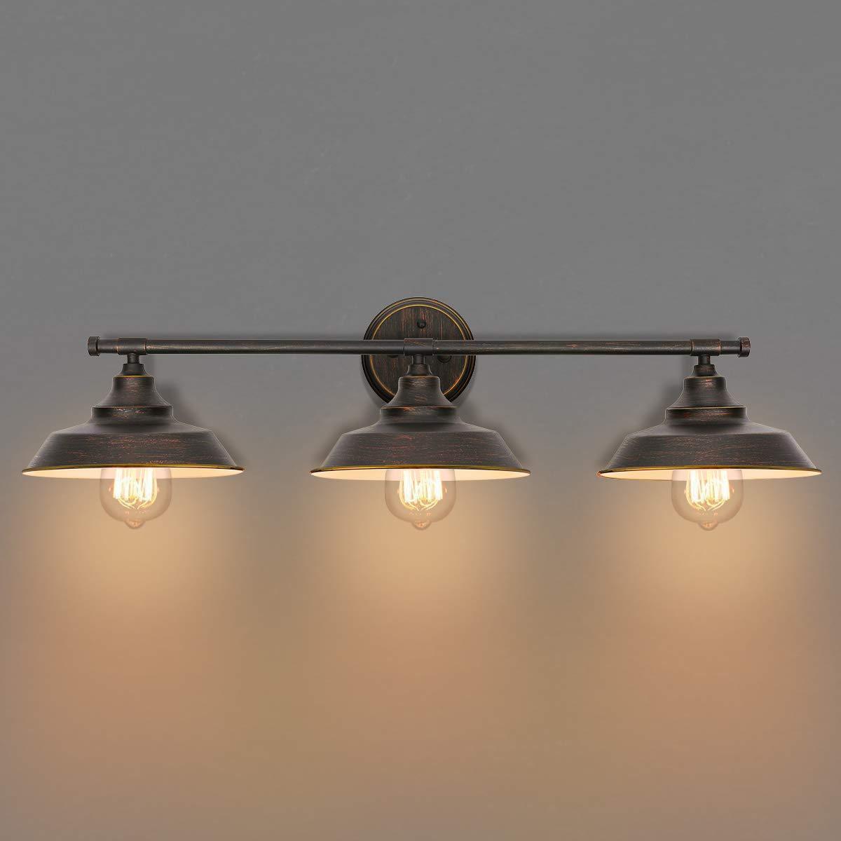 KingSo バスルーム 化粧台ライト 3ライト 壁取り付け用燭台 インダストリアル 屋内 壁取り付け ランプ シェード バスルーム キッチン リビングルーム ワークショップ カフェ B07GVH17DG