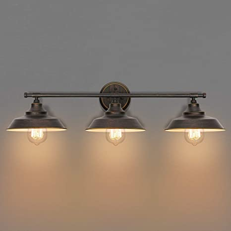 best website 81a20 78038 KingSo Bathroom Vanity Light 3 Light Wall Sconce Fixture Industrial Indoor  Wall Mount Lamp Shade for Bathroom Kitchen Living Room Workshop Cafe