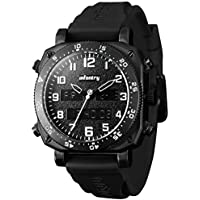INFANTRY Mens Military Tactical Watch Black Sport Wrist Watches for Men Rubber Band