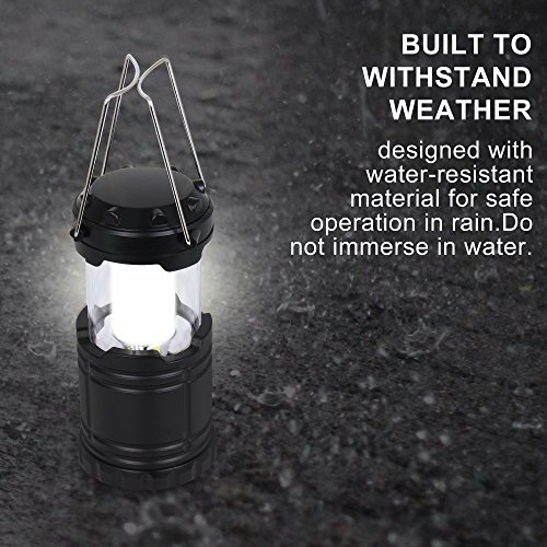 4 Pack Portable Outdoor LED Camping Lanterns Battery Powered Atomic Beam Lantern Latest Technology Black Waterproof Collapsible Suitable for Field Basement Warehouse Hurricane Night Fishing