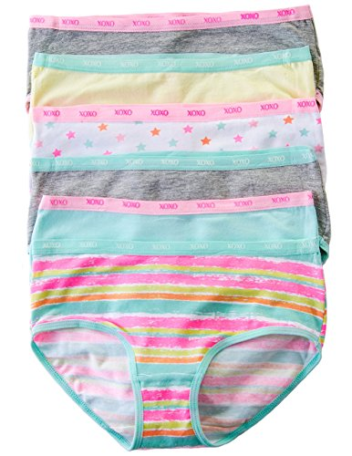 XOXO Big Girls Cotton Spandex Briefs with Elastic Trim 6-Pack (Large, Mint/Gray)