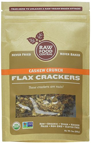 Raw Food Central Cashew Crunch Flax Crackers - Never Baked, SMALL BATCH (Organic NON GMO Gluten Free Vegan Kosher), 3 Oz.