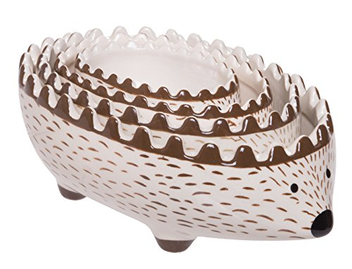 4-Piece Charming Hedgehog Stoneware Measuring Cups Set for Baking, Cooking, Liquid and Dry Ingredients, Set of 4 Sizes