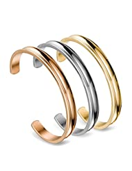 ZUOBAO 6mm Stainless Steel Hair Tie Bracelet Grooved Cuff Bangle for Women Girls