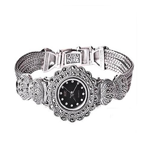 - Ladies Women 925 Sterling Silver Bracelet with Marcasite Luxury 925 Silver Vintage Wristwatch