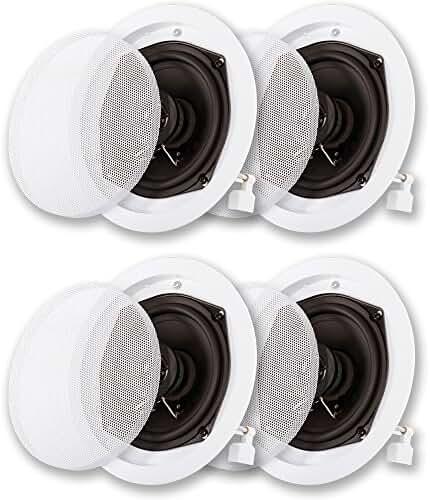 Acoustic Audio R191 In Ceiling / In Wall Speaker 2 Pair Pack 2 Way Home Theater 800 Watt R191-2PR