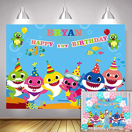 MMY Customizable Backdrops Baby Shark Backdrop Blue Ocean Shark Happy Birthday Party Background Baby Shark Party Banner Supplies Photo Booth Props. ()