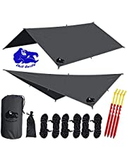 """Chill Gorilla 10x10 Hammock Rain Fly Camping Tarp. Ripstop Nylon. 170"""" Centerline. Stakes, Ropes & Tensioners Included. Camping Gear & Accessories. Perfect Hammock Tent. Multiple Colors."""