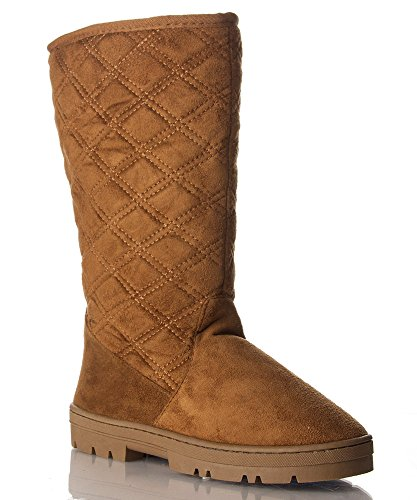 RF ROOM OF FASHION Emma Women's Shearling Fur Lined With Quilt Pattern Winter Eskimo Boots Tan Suede (7.5) - Suede & Faux Fur Boot