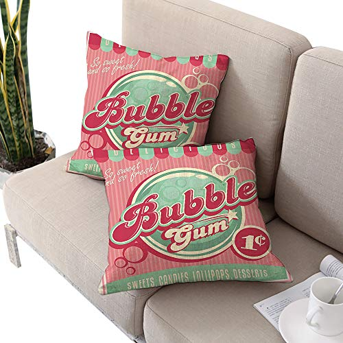 1950s Decor Collection Square personalized pillowcase ,Bubble Gum Chewing Delicious Candy Lollipop Sweet Sugar Advertise Poster Style Magenta Light Blue Cushion Cases Pillowcases for Sofa Bedroom - Gum Personalized Chewing