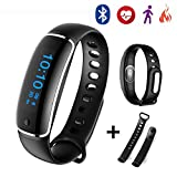 Waterproof Fitness Tracker with Heart Rate Monitoring - Blood Pressure Measurement - Sleep Monitoring - Pedometer - etc. Smart Bluetooth Bracelet Wristband Watch Work with Android and iOS Device (Black)