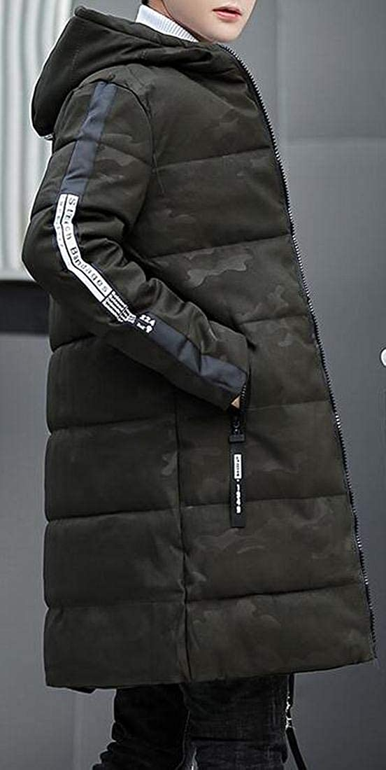 YYG Mens Winter Hooded Thicken Warm Camo Quilted Jacket Coat Outerwear