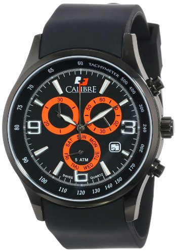 Calibre Men's SC-4M1-13-007 Mauler Black Ion-Plated Coated Stainless Steel Chronograph Tachymeter Day Date (Date Tachymeter)
