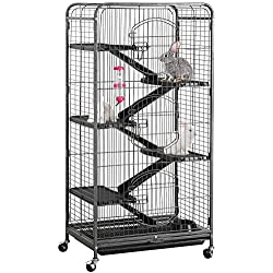 "Yaheetech 52"" 6 Level Metal Rabbit Cage with 3 Front Doors/Feeder/Wheels Small Animal Cage Hutch for Ferret Bunny Indoor Outdoor,Black"