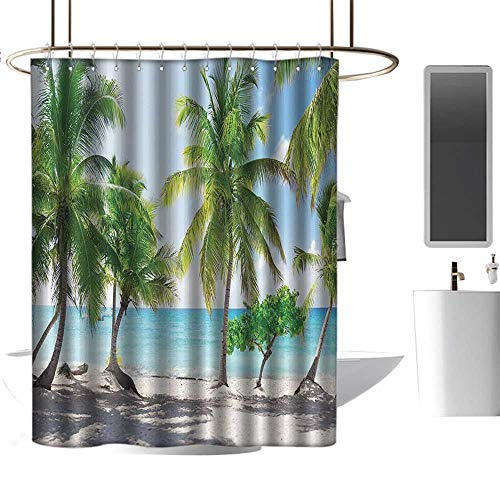 coolteey Shower Curtains White and Brown Beach,Palm Leaves and Catalina Island Seashore Coastal Panoramic Picture Print,Blue Ivory Green,W72 x L72,Shower Curtain for clawfoot tub