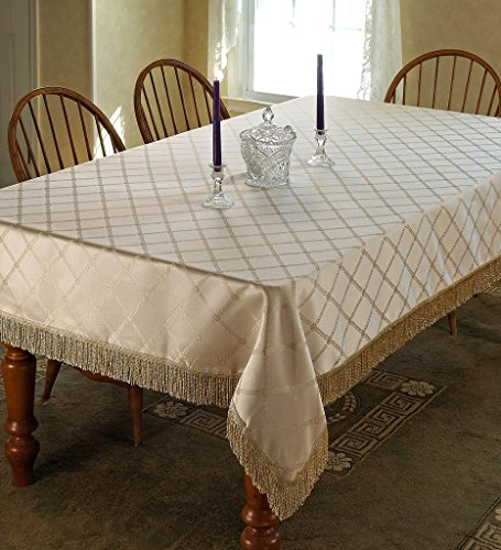 Violet Linen Diamond Damask Design Fringes Tablecloth, 90