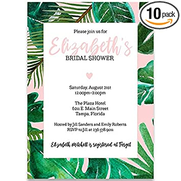 amazon com bridal shower invitation tropical vibes baby pink