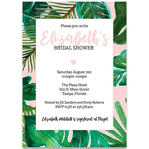Bridal Shower Invitation, Tropical Vibes, Baby Pink, Green, White, Black, Palm Trees, Tropical Wedding Shower, Tropical Bridal Shower Invitation, Set of 10 Custom Printed Invites with Envelopes