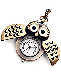 Lancardo Hot Sell Antique Bronze Slip Cover Owl Pocket Watch Necklace with Gift Bag