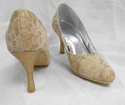 Kevin Fashion Ladies mz533Pointed Toe Lace boda Prom Party Zapatos de bombas, color Dorado, talla 43 EU